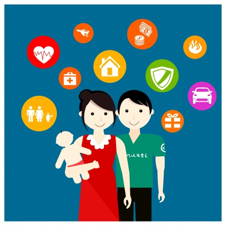 family insurance concept illustration with people and icons