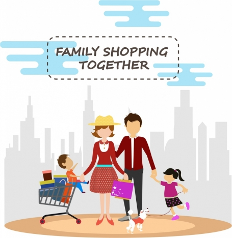 family shopping concept design in colors style