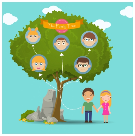family tree infographic illustration face icons