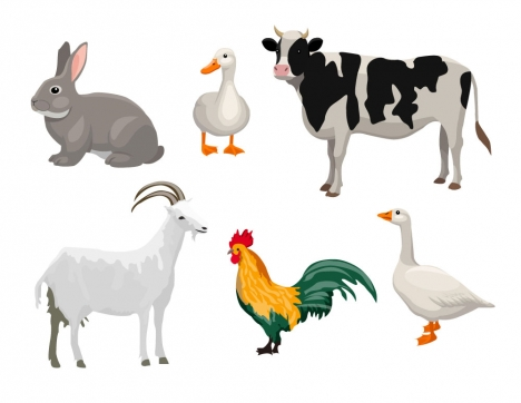 farm animals decorative icons set vector illustration