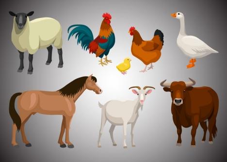 farm animals vintage set vector illustrations