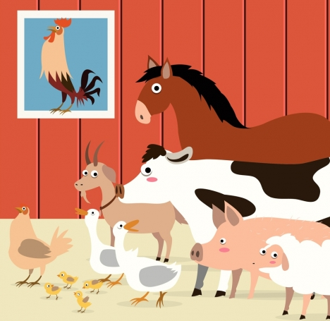 farm background cattle poultry icons colored cartoon design