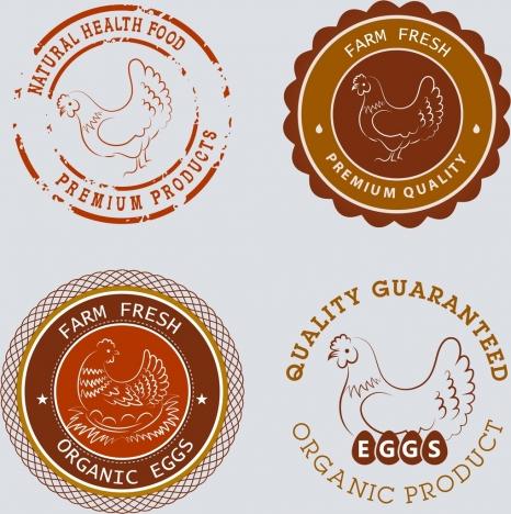 farm food seals hen icon sketch circle design