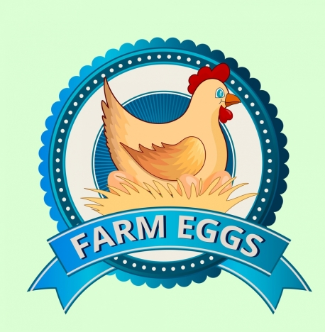 farm logotype hen eggs icons decor