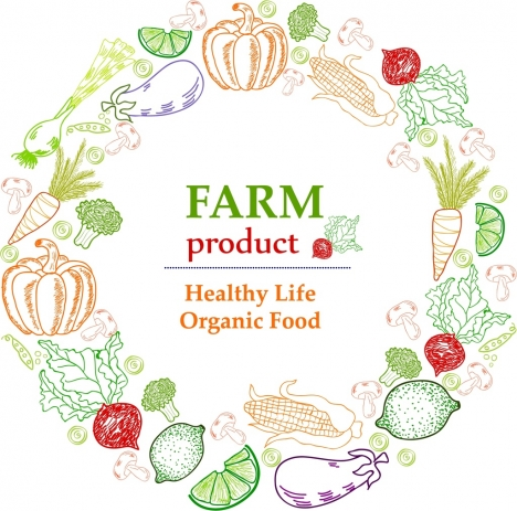 farm product advertisement colored handdrawn sketch
