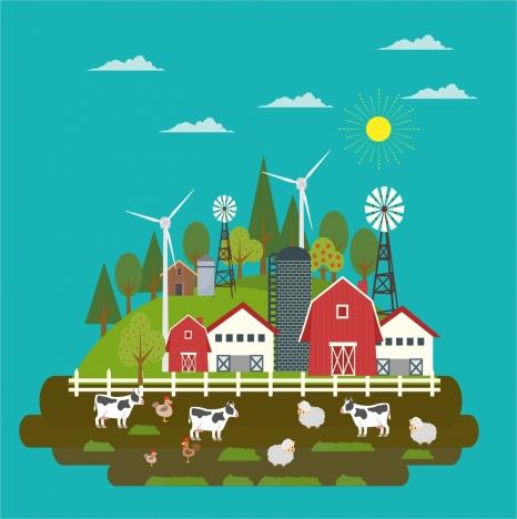 farm sketch design in colors style
