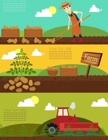 farming background sets farmer potato machine icons