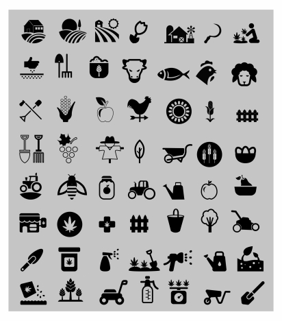 farming icons sets with silhouettes design