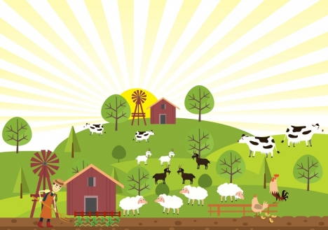 farming painting cattle farmer icons rays decor