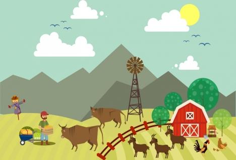 farming work background colored cartoon design