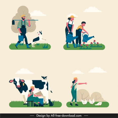 farming work icons classical design cartoon characters sketch