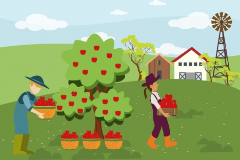 farming work theme human harvesting fruit design