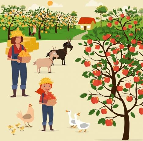 farming work theme poultry cattle fruit harvesting icons