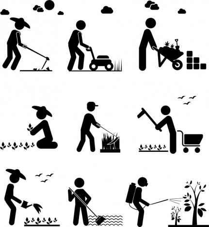 farming works concept isolation with silhouette style