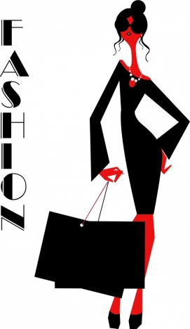 fashion background black white red decor lady icon