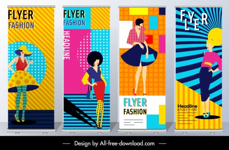 fashion flyer templates colorful model decor