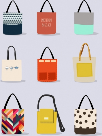 e34c8b7e09 Fashionable bag icons collection various colorful design vectors stock