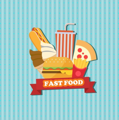 fast food advertisement food icons striped background