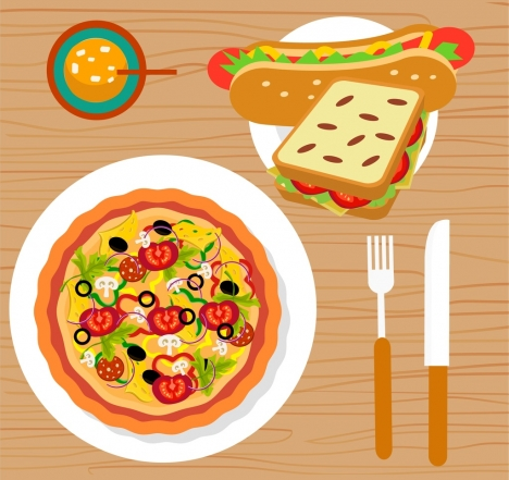 fast food advertisement pizza hotdog sandwich icons decoration