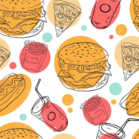 fast food background colored handdrawn design