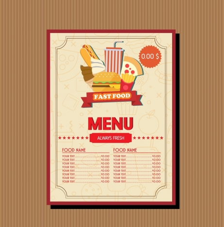 Fast Food Menu Template Food Vignette Brown Decoration Vectors Stock  Free Food Menu Template