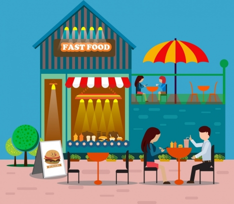 fast food restaurant drawing colorful outdoor icons