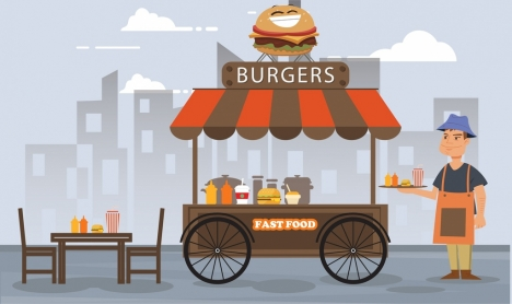 fast food sale drawing street cart colored cartoon