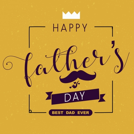 father day banner calligraphy moustache crown icons decor