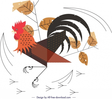 fighting chicken painting colored flat design leaves ornament