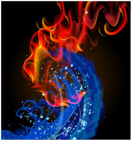 Fire and water swirl