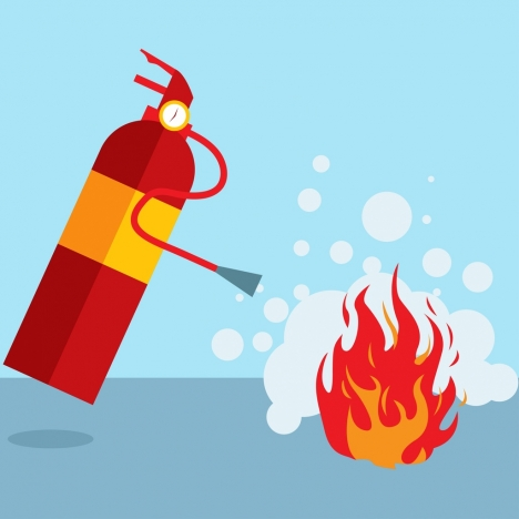 fire extinguish background colored tool flame icon decoration