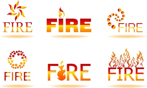 fire logotype sets shiny red text symbols ornament