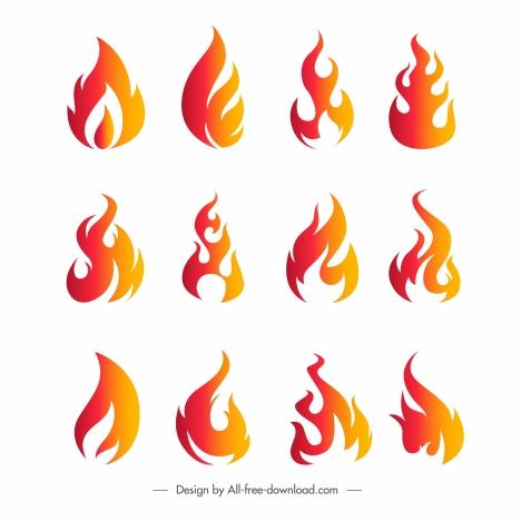 fire logotypes flat orange decor dynamic modern design