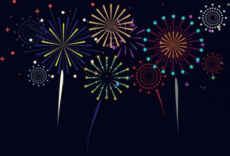 fireworks background colorful sparkles on dark backdrop