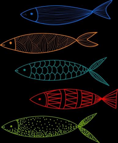 fish drawing dark colorful flat sketch