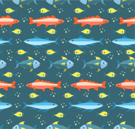 fish pattern colored repeating design
