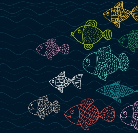 fishes drawing multicolored flat sketch
