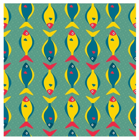 fishes pattern design with flat colored style