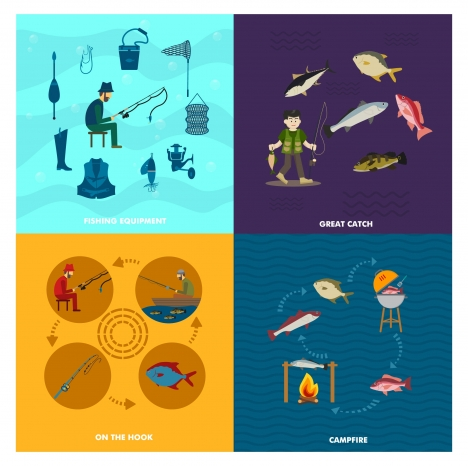 fishing concepts vector illustration with various activities