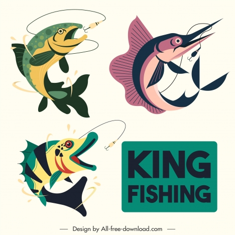 fishing design elements hunted fishes sketch classic design