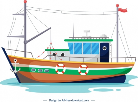 fishing ship template colored modern sketch