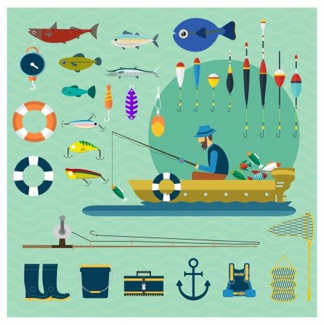 fishing vector illustration with various tools and fisherman