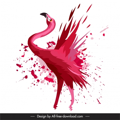 flamingo bird painting splashing grunge decor dynamic handdrawn