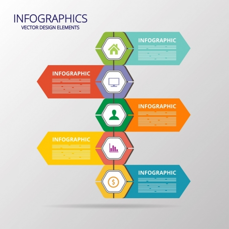 flat infographic template colorful polygon arrows decor