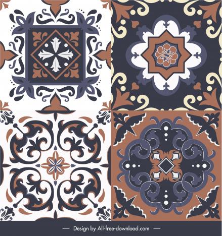 floor tile decor templates elegant retro symmetrical shapes
