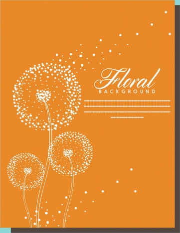 floral background dandelion sketch design orange background