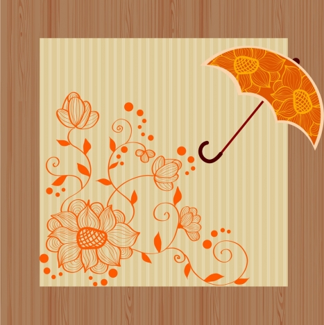 floral background design orange flowers pattern umbrella design