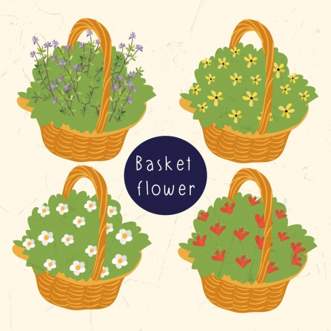 floral basket icons multicolored 3d design