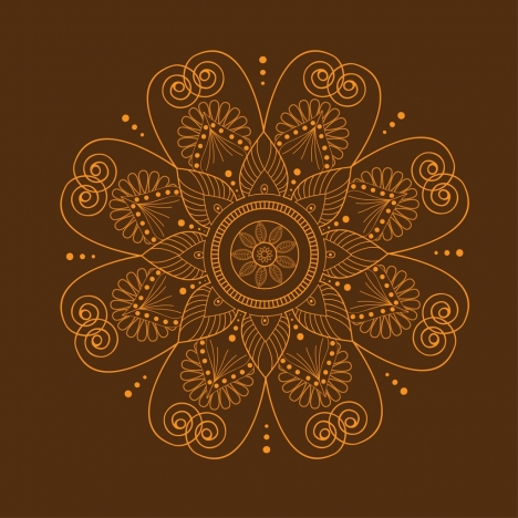 floral icon design brown closeup classical curves style