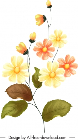 flower painting colorful classical design